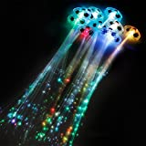 "Rio Rand 6 Pack Light Up Fiber Optic Led Hair Lights (14"" Strands) Multicolor Flashing Barette Rainbow Colors..."