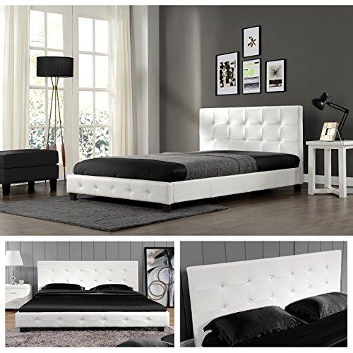 Weiss-180cm-x-200cm-Kalifornia-Doppelbett-Polsterbett-Bettgestell-Bett-Lattenrost-Kunstlederbett