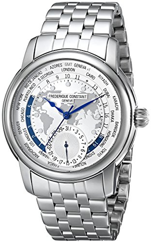 Frederique-Constant-Mens-FC718WM4H6B-World-Timer-Analog-Display-Swiss-Automatic-Silver-Watch
