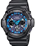 Casio #GA200SH-2A Men's XL Analog Digital Chronograph Alarm Blue Dial Glossy Black G Shock Watch