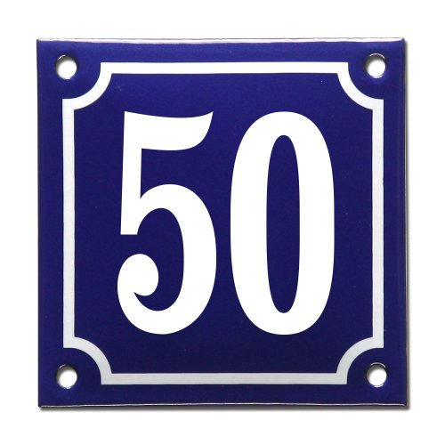 Enamel house number French blue, number 50