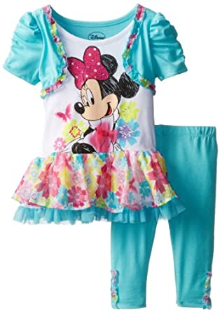 Disney Little Girls' Minnie Mouse Dress with Shrug Set, Aqua, 2T