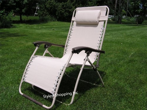 Extra Wide Beige Patio Recliner Folding Lounge Chair - 2013