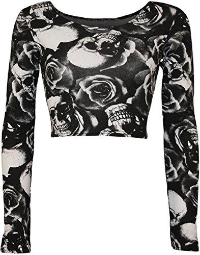 Fashion Essentials-Girocollo femminile leopardo teschio rosa zebra Comic Stampa maniche lunghe Bassiera (40-42, SKULL ROSE)