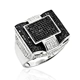 Roop Jewellers 92.5 Sterling Silver Antique Designer Cubic Zirconia Ring for Mens - 22