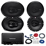 Car Speaker And Amp Combo of 2x Rockford Fosgate R165X3 Prime 6.5