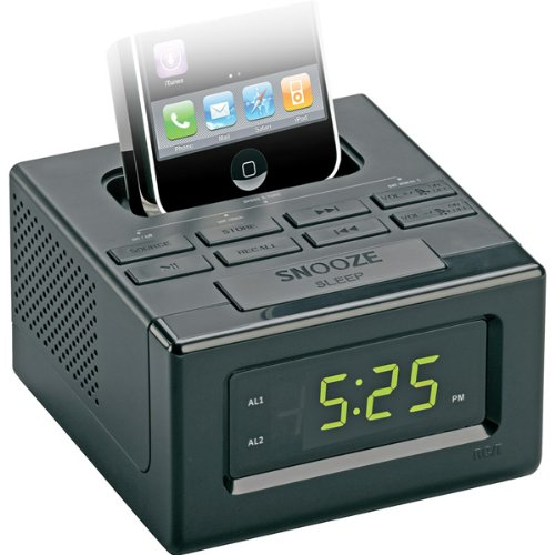 Black Dual Alarm Clock FM Radio With iPod/iPhone Dock sangean am fm rds atomic clock radio with ipod dock