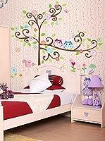 Ambiance Sticker Vinilo Decorativo Owls On Flowering Tree