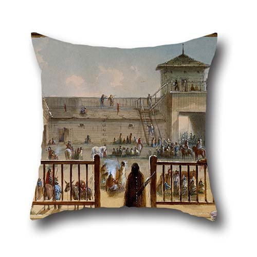 Oil Painting Alfred Jacob Miller - Interior Of Fort Laramie Cushion Covers 16 X 16 Inches / 40 By 40 Cm For Monther,family,father,living Room,office,sofa With Double Sides