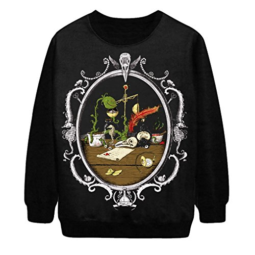 Voglee Gothic Clothing Sweatshirts Alice in Wonderland Theme Pullovers Sweater