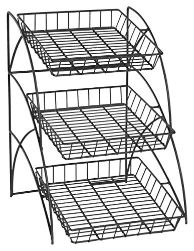 Space Saving Black Wire Rack With 3 Display Shelves, Countertop, Tiered, Open Shelf Design, 14-3/4 x 22-1/2 x 17-3/4-Inch (Countertop Wire Rack compare prices)