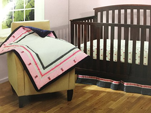 Bananafish Vineyard Collection 3 pc Baby Girl Crib Bedding Set Pink Ladybugs - 1