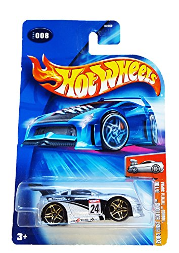 Mattel Hot Wheels 2004 First Editions 1:64 Scale Silver & Black Tooned Toyota Supra Die Cast Car #008 - 1