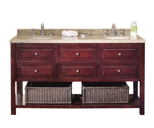 Ove Danny-60 Bathroom 60-Inch Double Vanity With Brown Peppered Granite Countertop And Two Undermount Ceramic Basins, Warm Chocolate
