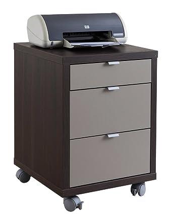 Cassettiera da ufficio Schema con tre cassetti e ruote wengè laccato grigio