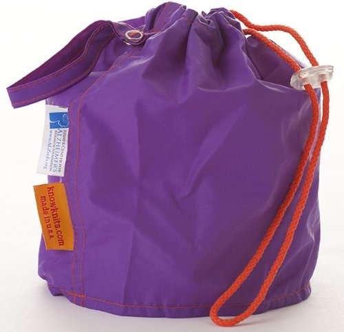 Purple Orchid for Alzheimer's Small GoKnit Pouch Project Bag w/ Loop & Drawstring from KnowKnits