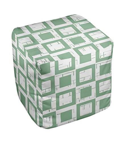 E by design FG-N2-Margarita_Green-18 Geometric Pouf - 1