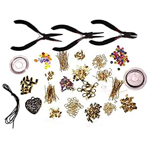 1000 Piece Deluxe Large Jewellery Making Kit for Starters with Instruction Manual Pliers, Findings, Beads, Cord, Tiger Tail, Gold Plated Accessories by Kurtzy TM