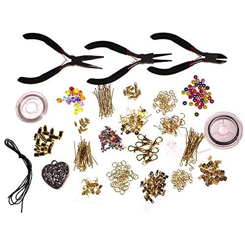1000 Pezzi Kit Gioielli Grande per Iniziare - Pinze, Minuterie, Perline, Cordino, Filo metallico nylon, Accessori placcati Oro di Curtzy TM