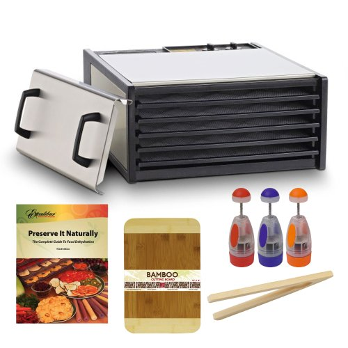 Excalibur 5 Tray Stainless Steel Electric Dryer W/Plastic Trays Dehydrator + Preserve It Naturally Book + Cutting Board Bamboo 8 X 12 Bamboo Finish + Multi-Purpose Chopper Plastic Finish + Bamboo Toast Tong - 6.5 Inch Long front-225904