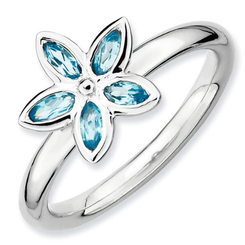 Blue Topaz Romantic Flower Stackable Ring - Size 5
