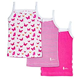 Feathers Girls Pink Butterfly print Tagless Cami Super Soft Undershirts (3/pack) ,5