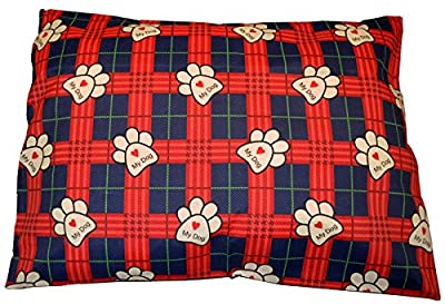 •ROHILinen• PET DOG BED CUSHION, REMOVABLE ZIPPED COVER, MY DOG RED, Anti-Dustmite & Hypo-Allergenic, LARGE SIZE