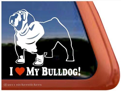 I Love My Bulldog Dog Vinyl Window Auto Decal Sticker front-500068
