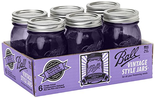 Ball Jar Ball Heritage Collection Pint Jars with Lids and Bands, Purple, Set of 6