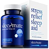 SleepMateTM Melatonin Plus Natural Sleep Aid - Non Habit Forming Clinically Proven Sleeping Pill for Stress Relief - Herbal Supplement with Sensoril Valerian Chamomile L-Theanine GABA 5HTP - 1 Bottle