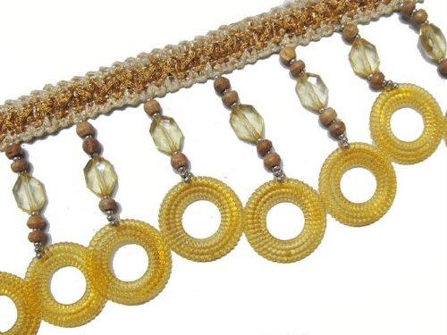 HAND BEADED YELLOW ACRYLIC ROUND FRINGE TRM SEWING 2YD-FRT35(A)
