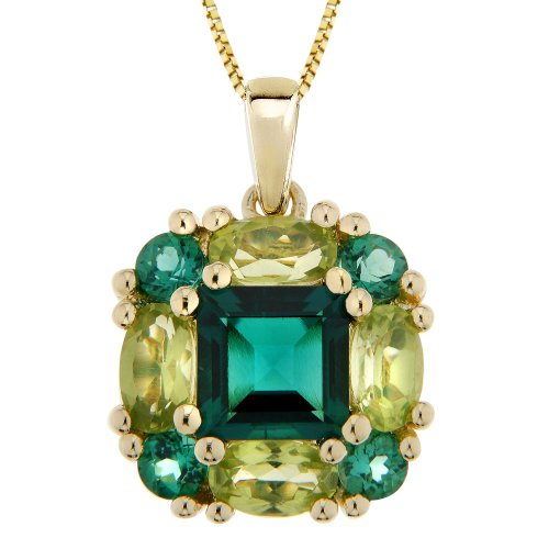 Sterling Silver with Gold Plated Created Emerald and Peridot Square Pendant Necklace, 18