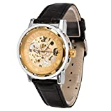 メンズ腕時計 機械式腕時計 手巻き スケルトンタイプ ウォッチ ブラック+ゴールド+ゴールド