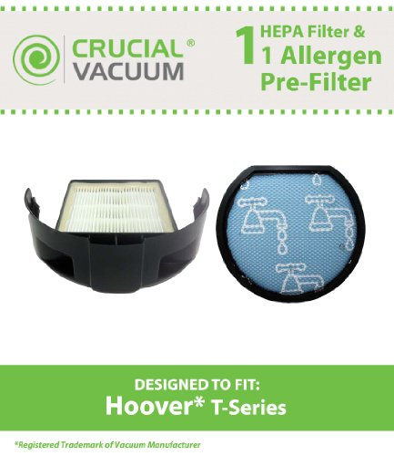 Washable & Reusable Pre & Exhaust Hepa Filter Kit Designed To Fit Hoover T-Series Vacuum Cleaners; Compare To Hoover Pre-Motor Filter Part # 303173001 & Hoover Exhaust Hepa Filter Part # 303172001, 303172002; Designed & Engineerd By Crucial Vacuum