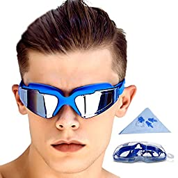 GAOGE Swimming Goggles No Leaking Anti Fog UV Protection Clear Triathlon Swim Goggles with Free Nose Clip, Ear Plugs Protection Case for Adult Men Women Youth Kids Child, Blue