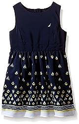 Nautica Girls' Border Print Dress, Navy, 5