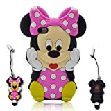 3D Cute Cartoon Mouse Soft Silicone Case Cover With 3D Minnie Stylus Pen for Apple iPhone 4 4S - Pink