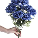 """Package of 3 - 19"""" Flag Blue Silk Open Rose Floral Bushes with Baby's Breath - 12 Large Blooms Per Bush!"""