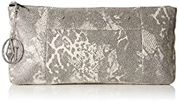 Armani Jeans Snake Printed Clutch, White, One Size