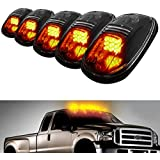 iJDMTOY® 5pcs Amber LED Cab Roof Top Marker Running Lights For Truck SUV 4x4 (Black Smoked Lens Lamps)