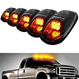 iJDMTOY® 5pcs Amber LED Cab Roof Top Marker Running Lights For Truck SUV 4×4 (Black Smoked Lens Lamps) thumbnail