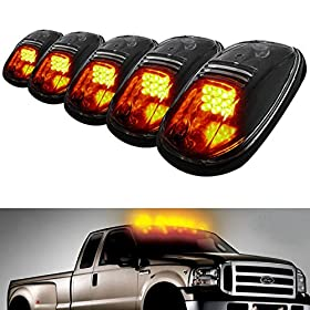 iJDMTOYu00ae 5pcs Amber LED Cab Roof Top Marker Running Lights For Truck SUV 4x4 (Black Smoked Lens Lamps)