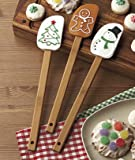 """Spoonula Holiday Gift Set of three (3) - Silicone head - 12 """" bamboo handle - Gingerbread man; Snowman; Christmas Tree -Stocking Stuffer, Hostess Gift or gift tie-on! Cross between spoon & spatula. Scoop, smooth & stir your holiday treats with these festive tools!"""