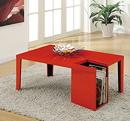 Coffee Table w/ High Gloss Finish Magazine Rack in Red finish by Poundex