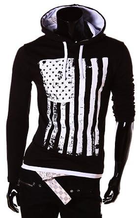 Herren Hoodie Kapuzenpullover 100% Baumwolle Pullover Herren Pulli Hoodie sweatshirt (S, Schwarz Weiß)