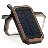 Solar Charger, 8000mAh 3-Port USB and 21LED Light Solar Power Bank Portable Battery Cellphone Charger, Solar Panel for Emergency Outdoor Camping Hiking for iPhone and Android cellphones (Coffee+Black)