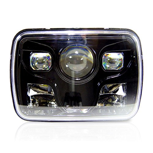 GENSSI 7x6 Projector LED Headlight Sealed Beam Replacement DOT Black Housing (Pack of 1) (6054 Led Sealed Beam Headlight compare prices)