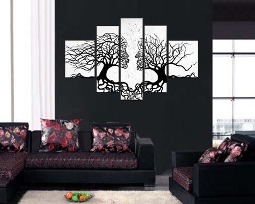 Sangu Hand-Painted Hot Saling Framed 5-Piece Couple Trees Oil Paintings Canvas Wall Art For Home Decoration
