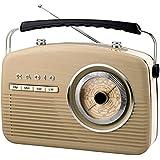 Retro Radio Weltempfänger Nostalgie 50er Jahre Vintage Design Küchenradio Nostalgieradio Kofferradio (Beige)