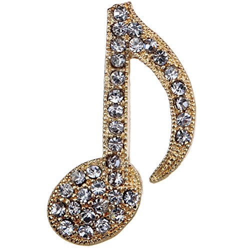 Amybria Belle or Clear Crystal Broche note musicale et Pins pour les femmes